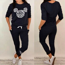 Women 2Pcs Mickey Printed Tracksuit Hoodies Sweatshirt Pants Jogging Casual Suit