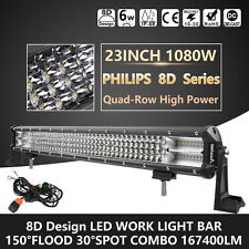 Quad-Row 23Inch 1080W 8D PHILIPS LED Light Bar Spot Flood Offroad Driving Lamp
