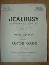 VINTAGE SHEET MUSIC - JEALOUSY - TANGO SONG