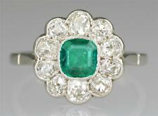 Antique Emerald & 1.0ct Old Cut Diamond 18ct Gold & Plat Cluster Ring Ca 1910/20