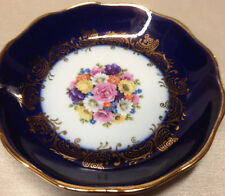VERITABLE PORCELAINE D'ART LIMOGES FRANCE PIN DISH COASTER COBALT FLORAL CENTER