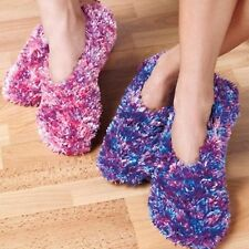 2 Pairs FLUFFY FEATHER YARN LIGHTWEIGHT SLIPPERS PINK PURPLE POLYESTER SMALL S