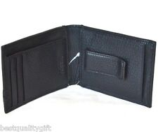 NEW FOSSIL HARPER FP ID BLACK LEATHER MENS REVERSIBLE BIFOLD CLIP WALLET