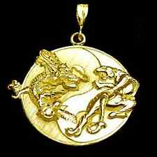 LOOK Large Big YIN YANG CHINESE DRAGON TIGER 24kt GOLD PLATED PENDANT CHARM Jewe