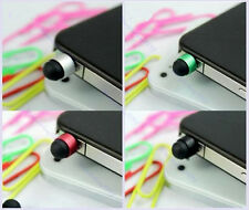 Earphone Jack Plug Dust Cover 8x 3.5mm Mini Touch Pen Stylus For iPod iPhone 4S