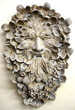 Antique Greenman Wall Sculpture Home Garden Decor Mythical Leaf Face