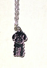 Black POODLE Charm Necklace Enamel Dog Pendant Puppy Women Kids