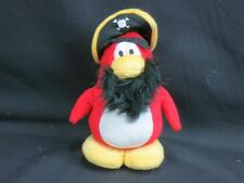 "DISNEY CLUB PENGUIN ROCKHOPPER RED PIRATE 8"" PLUSH BEARD EYEBROWS STUFFED ANIMAL"