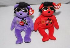 TY Beanie Baby, Elvis (Lot of 2) 2010 Purple & Red, Plays Song -Your Teddy Bear