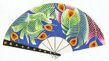 LEE Oriental Fan of Flowing Peacock Feathers HP handpainted Needlepoint Canvas