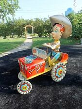 Vintage tin litho wind up toy car jeep of Cowboy Rodeo Joe by Unique Art  N.J.