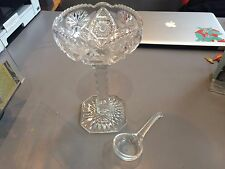 """BEAUTIFUL VINTAGE DECORATIVE THICK GLASS DISH w/SPOON 9"""" GREAT PATTERN & DESIGN"""