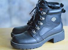 HARLEY DAVIDSON Motorcycle  Boots Sz 8.5 Black Leather Lace Up Inside Zipper