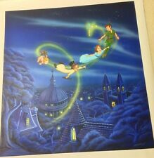 Original Painting Disney Artist Cindi Bothner Peter Pan Wendy Off to Neverland