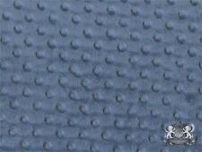 "Minky Dimple Dot DENIM BLUE Fabric / 60"" wide / Sold By the Yard"