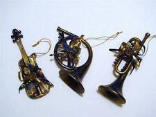 SET OF 3 BLUE AND GOLD MUSICAL INSTRUMENT CHRISTMAS ORNAMENTS~NEW