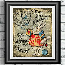 Dictionary art print alice in wonderland white rabbit watch clock wall decor