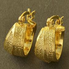 Classic 9K Yellow Gold Filled Embossed Womens Hoop Earrings Vintage Huggie