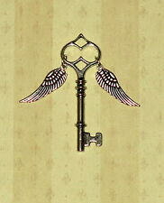 Winged Silver Skeleton Key w/ Wings Harry Potter Themed Favor Necklace Pendant