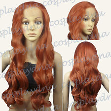 28 inch Hi_Temp Series Lace Front  Copper Red Curly  Long Cosplay DNA Wigs S350