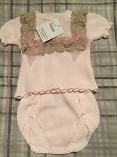 Spanish Knitted Baby Girls Shorts Jam Pants Set 0-3 Months