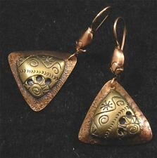 Brushed Swirled COPPER BRASS Triangle Petroglyph Engraved Dangle EARRINGS