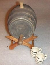 VINTAGE UHL POTTERY KEG BARREL WITH WOOD STAND AND 2 CERAMIC MUGS-