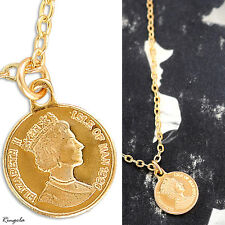 Gold Filled 14k Necklace Coin Pendant Designer Charm & Chain Lady Warranty Queen