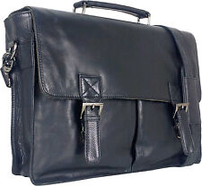 "UNICORN Real Leather 16.4"" Laptop Netbook Ultrabook Messenger Bag - Black #3F"