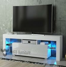 Modern TV Unit 130cm Cabinet White Matt and White High Gloss FREE LED RGB !