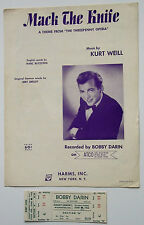 "Bobby Darin Origial,1962 Unused Concert Ticket and ""Mack the Knife"" Sheet Music"
