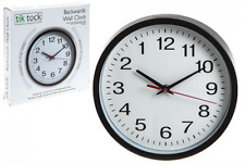 BACKWARDS WALL CLOCK - Reverse with correct time - ANTI CLOCKWISE NOVELTY GIFT