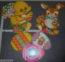Vintage Die Cut Cardboard Decorations Easter Eggs Bunny Rabbit Duck Beistle USA