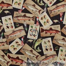 BonEful Fabric FQ Cotton Quilt Brown Lake Trout Fly Fish Lure Cabin Camp Boat RK