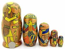 Genuine Russian 5 GOLDEN nesting dolls Ancient Egypt Gods & Goddesses Matryoshka