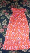 NWT Mud pie Bap Lady Beach to Bar orange  pink sun dress long womens Small FUN