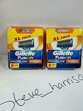 GILLETTE FUSION PROGLIDE POWER 8 PACK x2 RAZOR BLADES 100% GENUINE ITEM BARGAIN!