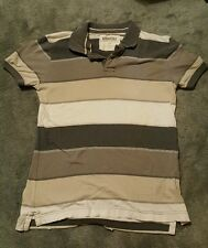 Aeropostale Grey and White Striped Polo Shirt Adult Small
