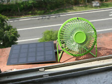 Solar Panel Powered USB Green 4'' Mini Fan for Outdoor Camping Home Cooling