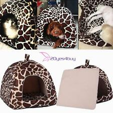 Soft Leopard Pet Dog Cat Bed House Kennel Doggy Warm Cozy Cushion Basket Pad S