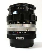 Nikon Nikkor-O 35mm f/2 lens, non-Ai, fast wide-angle, clean glass, exc