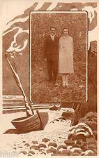 BK521 Carte Photo vintage card RPPC couple cadre décor plage barque bateau