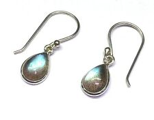 Handmade in 925 Sterling Silver, Real Labradorite Teardrop Drop Earrings & Box