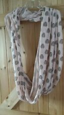 """Pretty Pale Pinky Orange Cowl With Owl Motif 36"""" × 31"""" Approx  Cowl Snood Scarf"""