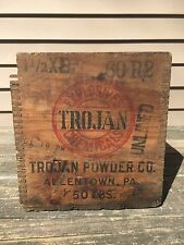 ANTIQUE DYNAMITE TROJAN POWDER EXPLOSIVES/CHEMICALS WOOD CRATE/BOX ALLENTOWN PA