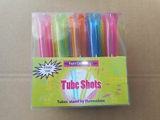 party ESSENTIALS Hard PLASTIC 1-1/2-Ounce Tube Shots, Assorted Neon FREE SHIP!