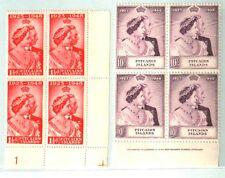 PITCAIRN ISLANDS 1949 WEDDING PLATE/IMPRINT BLOCKS(4) MNH
