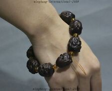 Rare China Old Ox Horn Carved 18 Arhat Buddha Head 9 Pray Beads amulet Bracelets