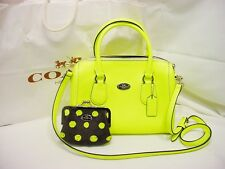 NWT COACH NEON YELLOW CROSS GRAIN LEATHER MINI BENNET SATCHEL & NWT COIN PURSE!