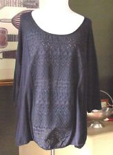 Lucky  Brand Blue Cotton Eyelet Peasant Top 3X